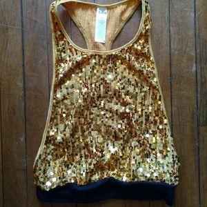 Child Medium Gold Sequin Tank Top Dance Costume